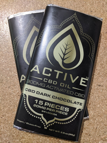 Active CBD Oil chocolate bars stacked