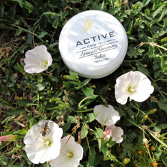 Active CBD Oil salve container in grass with flowers