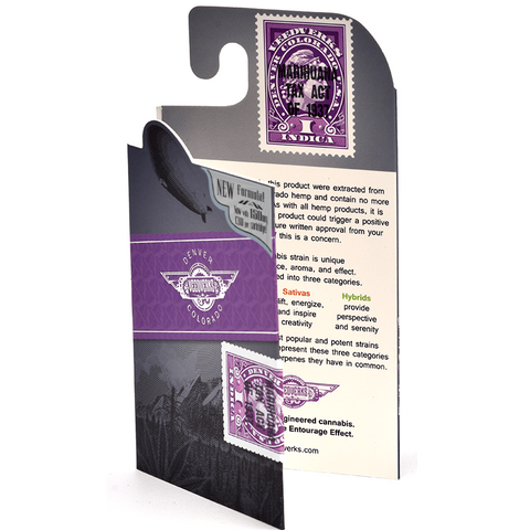 Image of cbd vape cartridge front purple