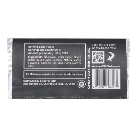 Image of CBD chocolate bar label