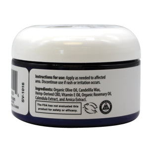CBD oil salve back label