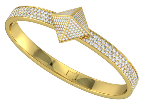 Yellow Gold Diamond Pave Trunfio Universe™ Bracelet - trunfio universe  - 1