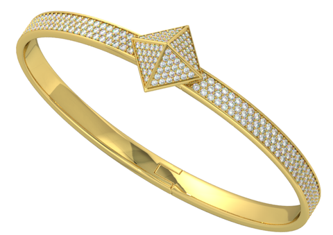 Yellow Gold Diamond Pave Trunfio Universe™ MINI Bracelet - trunfio universe  - 1