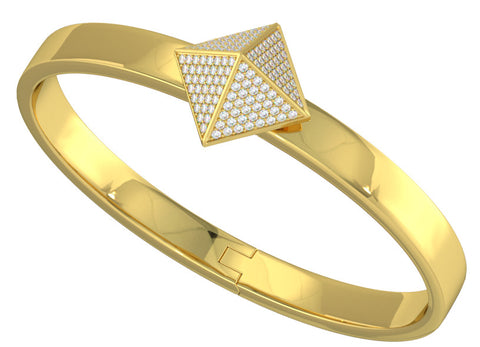 Yellow Gold Trunfio Universe™ Bracelet w/ Diamond pave Pyramid - trunfio universe