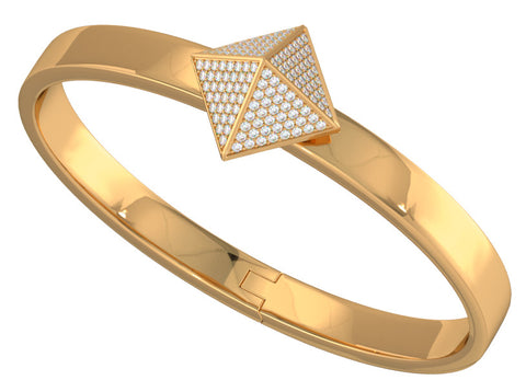 Rose Gold Trunfio Universe™ Bracelet w/ Diamond pave Pyramid - trunfio universe