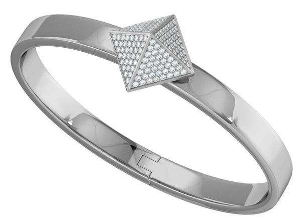 White Gold Trunfio Universe™ Bracelet w/ Diamond Pave Pyramid - trunfio universe