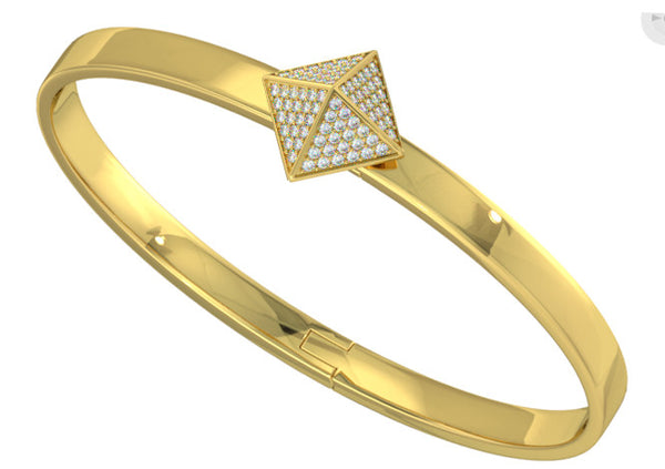 Yellow Gold Mini Trunfio Universe™ bracelet w/ Diamond pave pyramid - trunfio universe