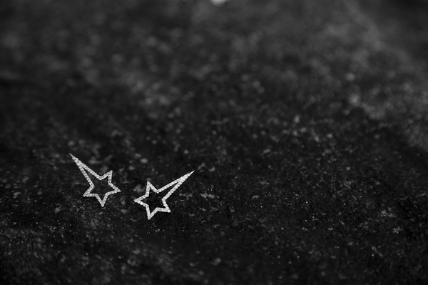 White Gold Diamond Shooting Star Studs - trunfio universe  - 2