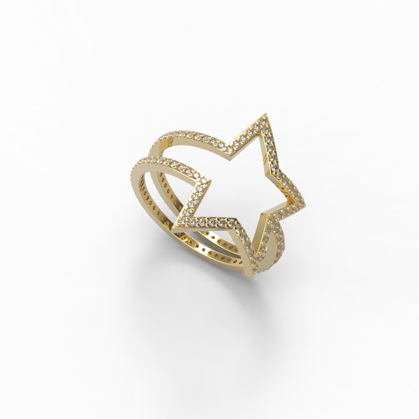 Yellow Gold Diamond Shooting Star Wrap Ring - trunfio universe  - 1