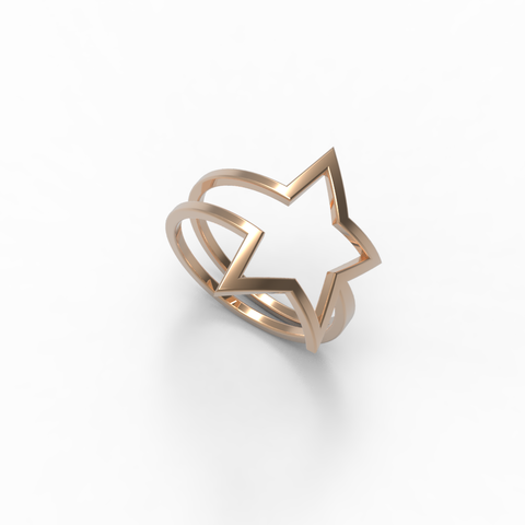 Rose Gold Shooting Star Wrap Ring - trunfio universe  - 1