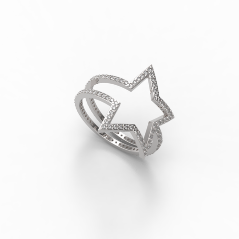 White Gold Diamond Shooting Star Wrap Ring - trunfio universe  - 1