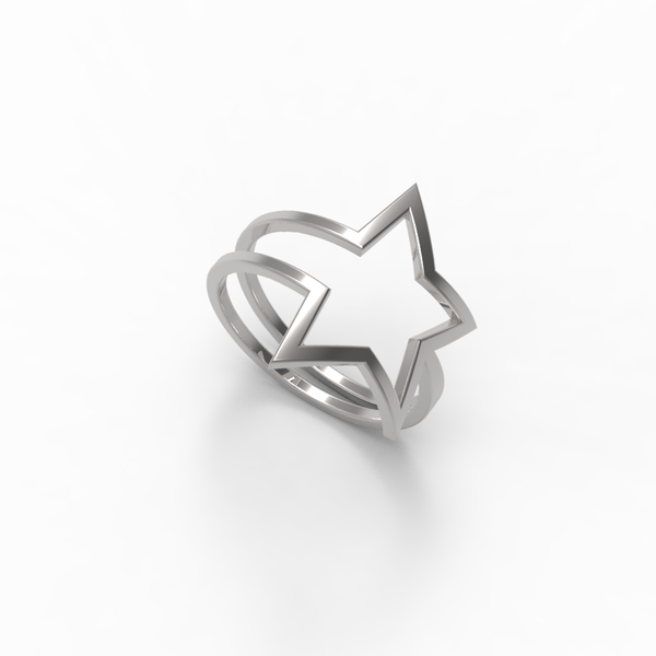 White Gold Shooting Star Wrap Ring - trunfio universe  - 1