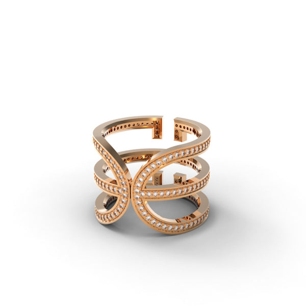 Rose Gold Diamond 'Universi' Wrap Ring - trunfio universe  - 2
