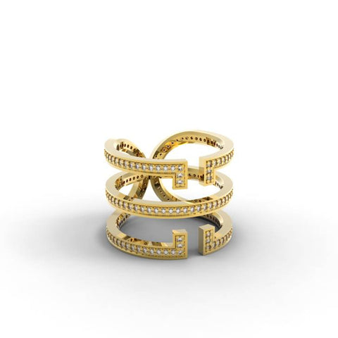 Yellow Gold Diamond 'Universi' Wrap Ring - trunfio universe  - 1
