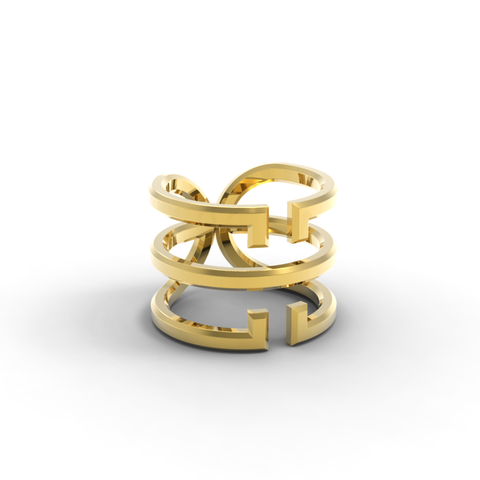 Yellow Gold 'Universi' Wrap Ring - trunfio universe  - 1