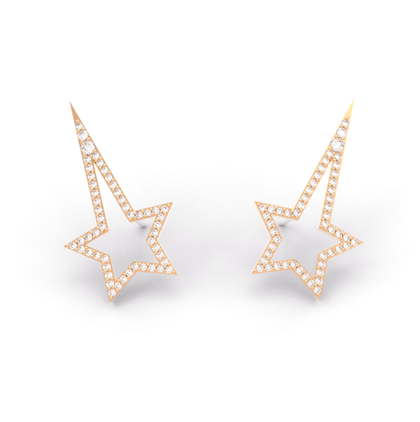 Rose Gold Diamond Shooting Star Studs - trunfio universe  - 1