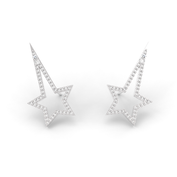 White Gold Diamond Shooting Star Studs - trunfio universe  - 1