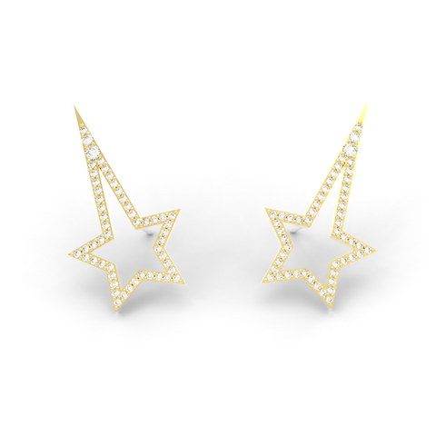 Yellow Gold Diamond Shooting Star Studs - trunfio universe  - 1