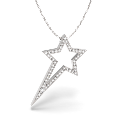 White Gold Diamond Shooting Star Necklace - trunfio universe  - 1