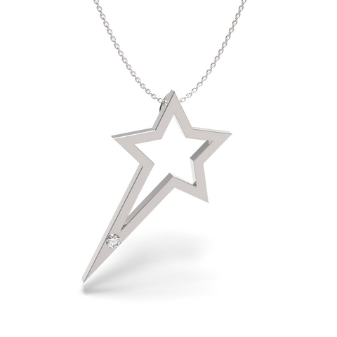 White Gold Single Diamond Shooting Star Necklace - trunfio universe  - 1