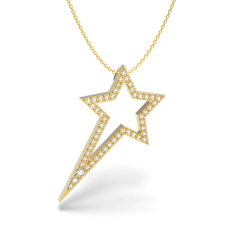 Yellow Gold Diamond Shooting Star Necklace - trunfio universe  - 1