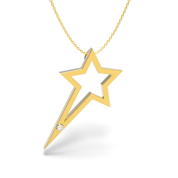Yellow Gold Single Diamond Shooting Star Necklace - trunfio universe  - 1