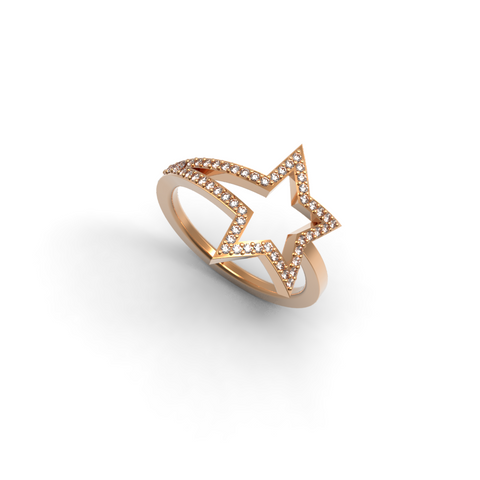 Rose Gold Diamond Shooting Star Ring - trunfio universe  - 1