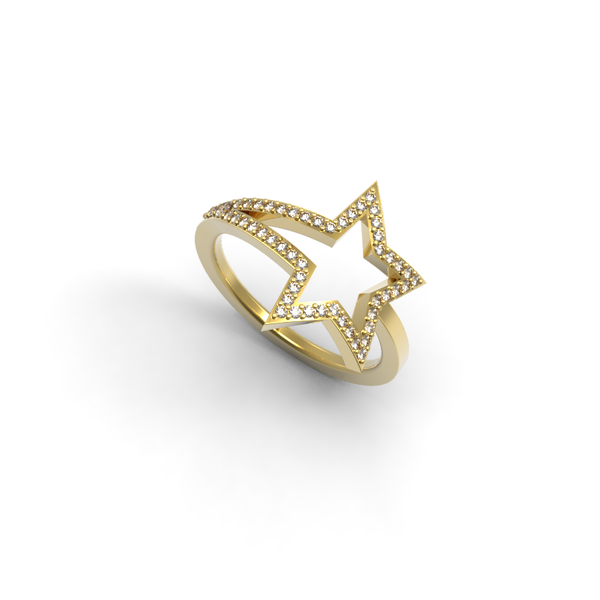 Yellow Gold Diamond Shooting Star Ring - trunfio universe  - 1