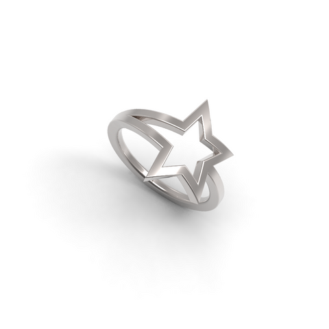 White Gold Shooting Star Ring - trunfio universe  - 1