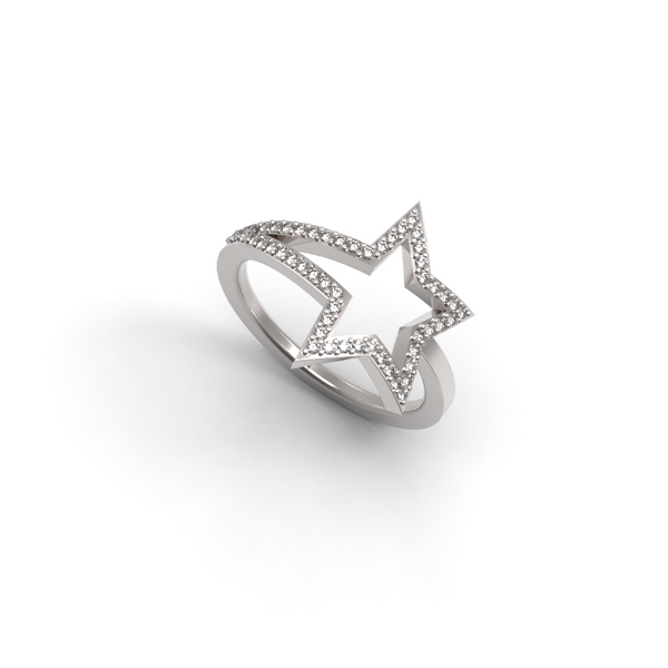 White Gold Diamond Shooting Star Ring - trunfio universe  - 1