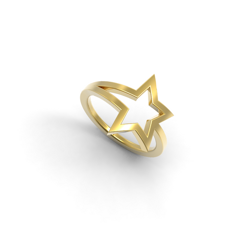 Yellow Gold Shooting Star Ring - trunfio universe  - 1