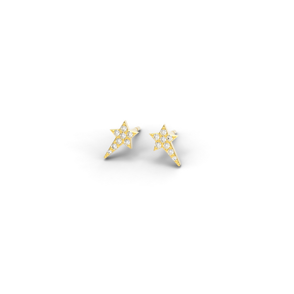 "Yellow Gold Diamond ""Wish upon a Star"" Studs - trunfio universe  - 1"