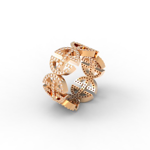 Rose Gold Full Pave 'Universi' Ring (UNISEX) - trunfio universe  - 1