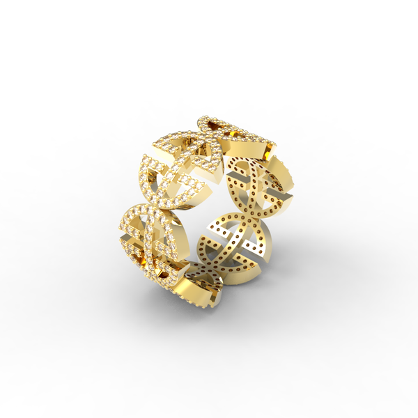 Yellow Gold Full Pave 'Universi' Ring (UNISEX) - trunfio universe  - 1