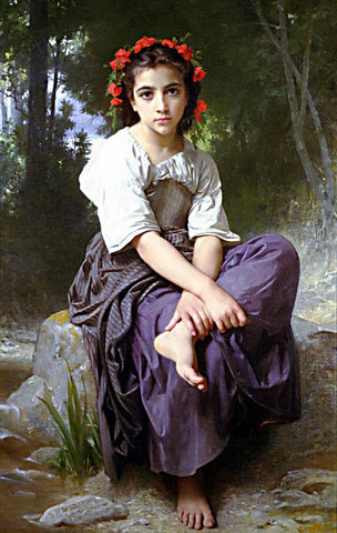 William Adolphe Bouguereau-At the Edge of the Brook