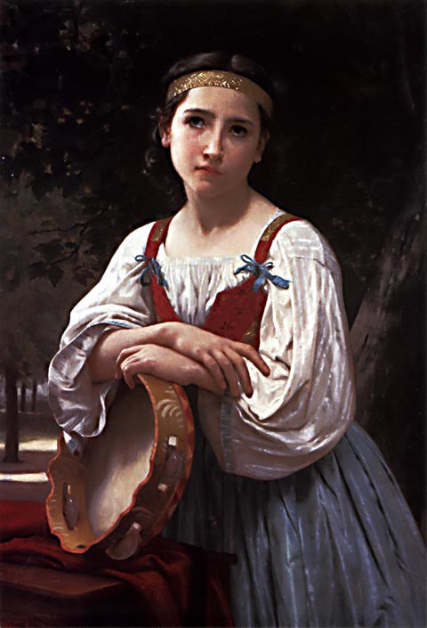 William Adolphe Bouguereau-Gypsy Girl With A Basque Drum