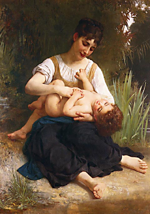 William Adolphe Bouguereau-The Joys Of Motherhood Girl Tickling A Child