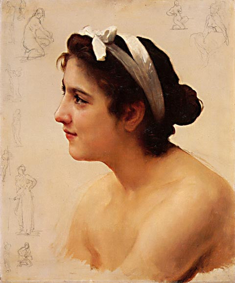 William Adolphe Bouguereau-Study Of A Woman For Offering To Love