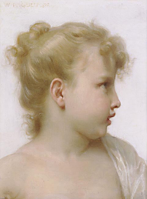 William Adolphe Bouguereau-Study Head Of A Little Girl
