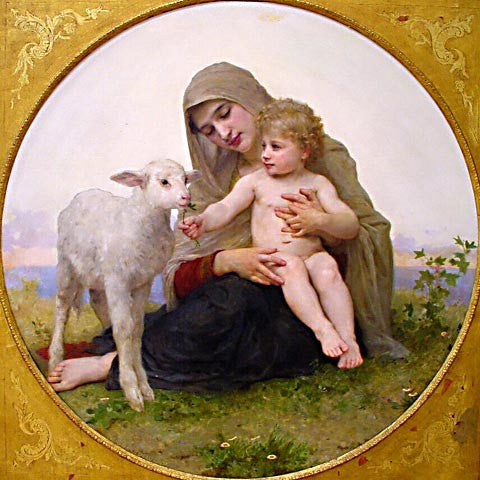 William Adolphe Bouguereau-Virgin And Lamb