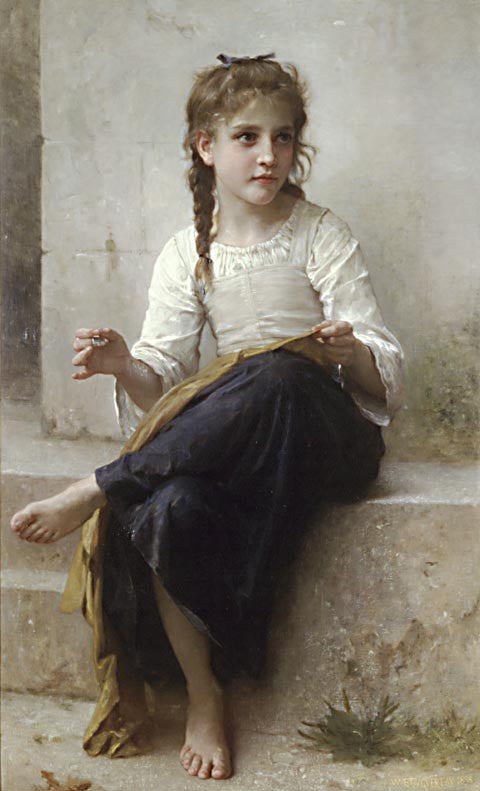 William Adolphe Bouguereau-The Dressmaker Sewing