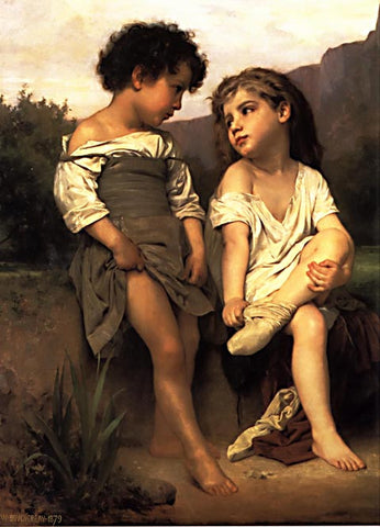 William Adolphe Bouguereau-At the Edge of the Brook #1