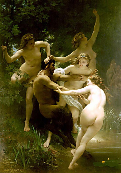 William Adolphe Bouguereau-Nymphs At Satyre