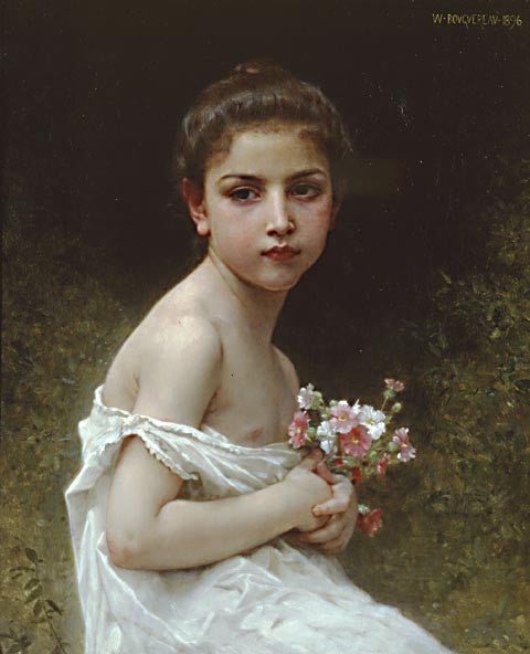 William Adolphe Bouguereau-Little Girl With A Bouquet