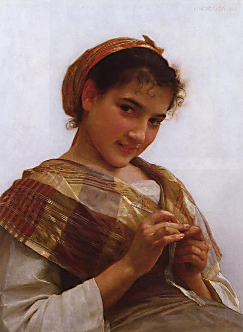 William Adolphe Bouguereau-Portrait Of A Young Girl Crocheting