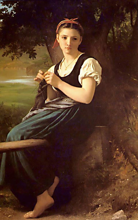 William Adolphe Bouguereau-The Knitting Girl