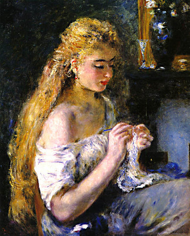 Pierre Auguste Renoir-A Girl Crocheting