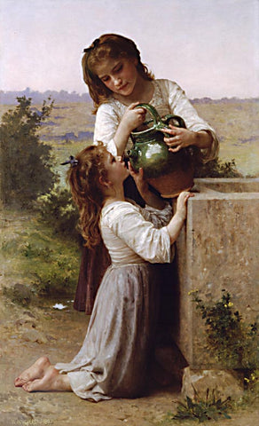 William Adolphe Bouguereau-At the Fountain