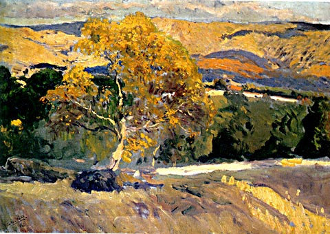 Joaquin Sorolla-The Yellow Tree At The Farm