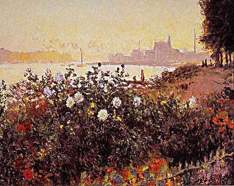 Claude Monet-Bank in Flower 1877